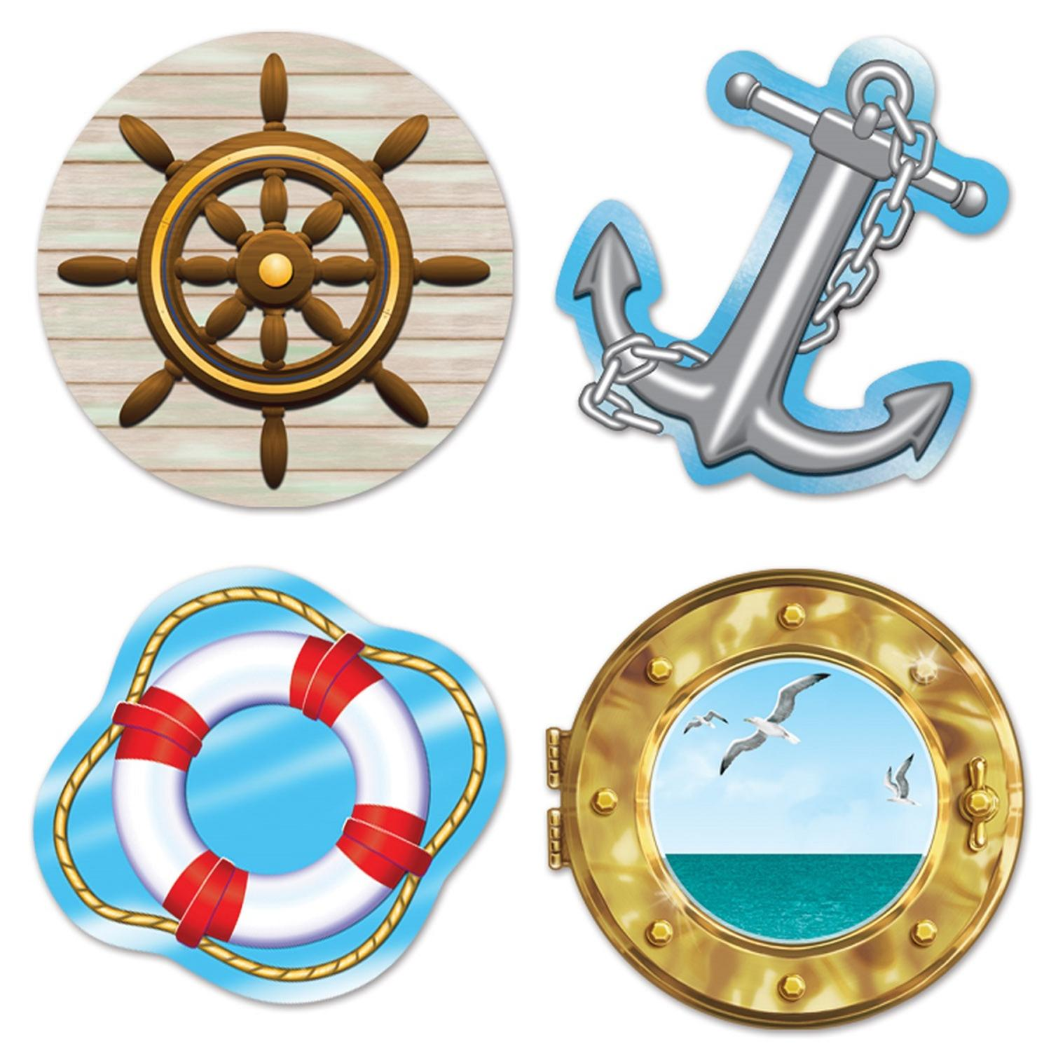 Club Pack of 48 Multi-Colored Nautical Themed Cutout Party Decorations 13.75""