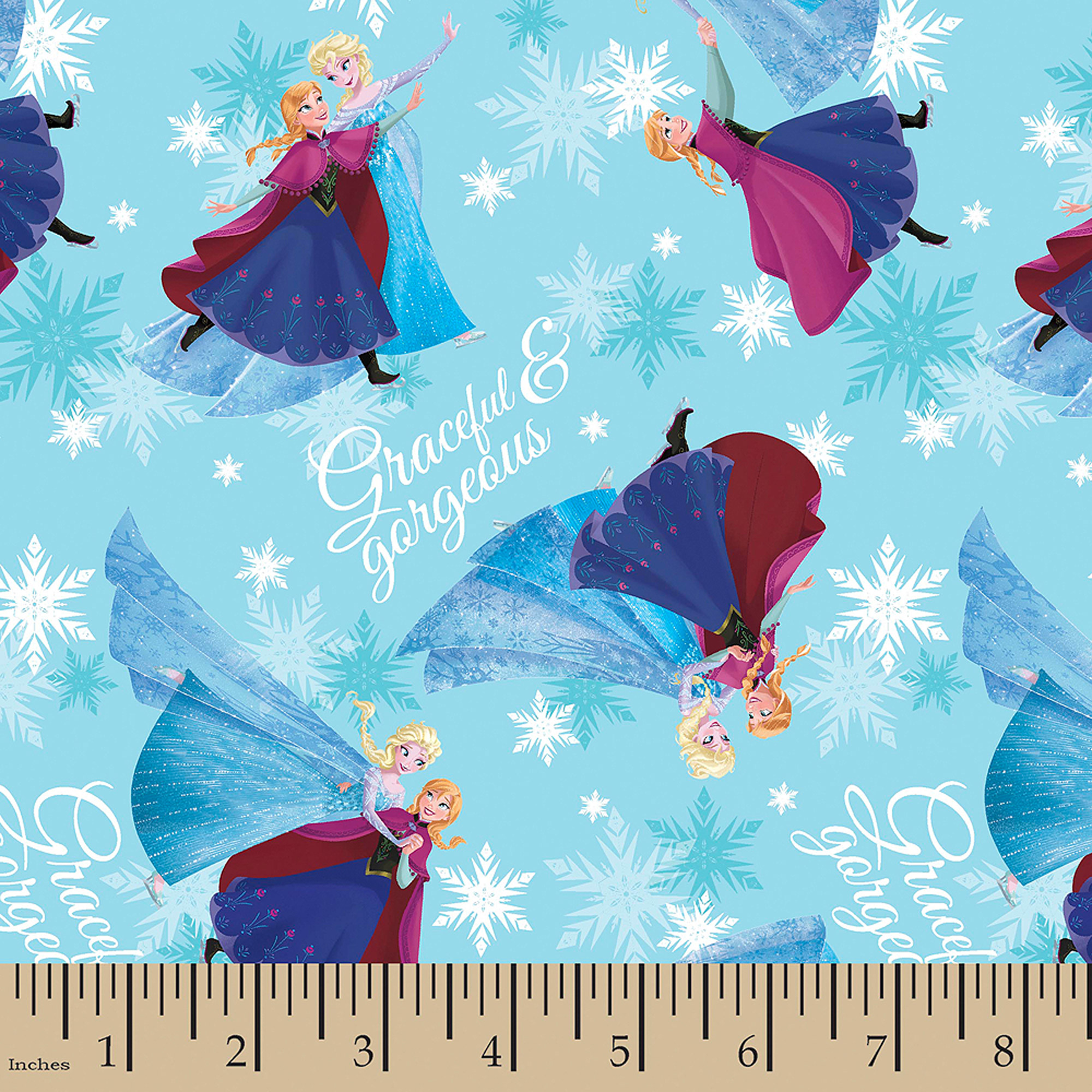 """Disney Frozen Sisters Skating Bridal Satin, Polyester, Blue, 57/58"""" Wide, Fabric By The Yard"""