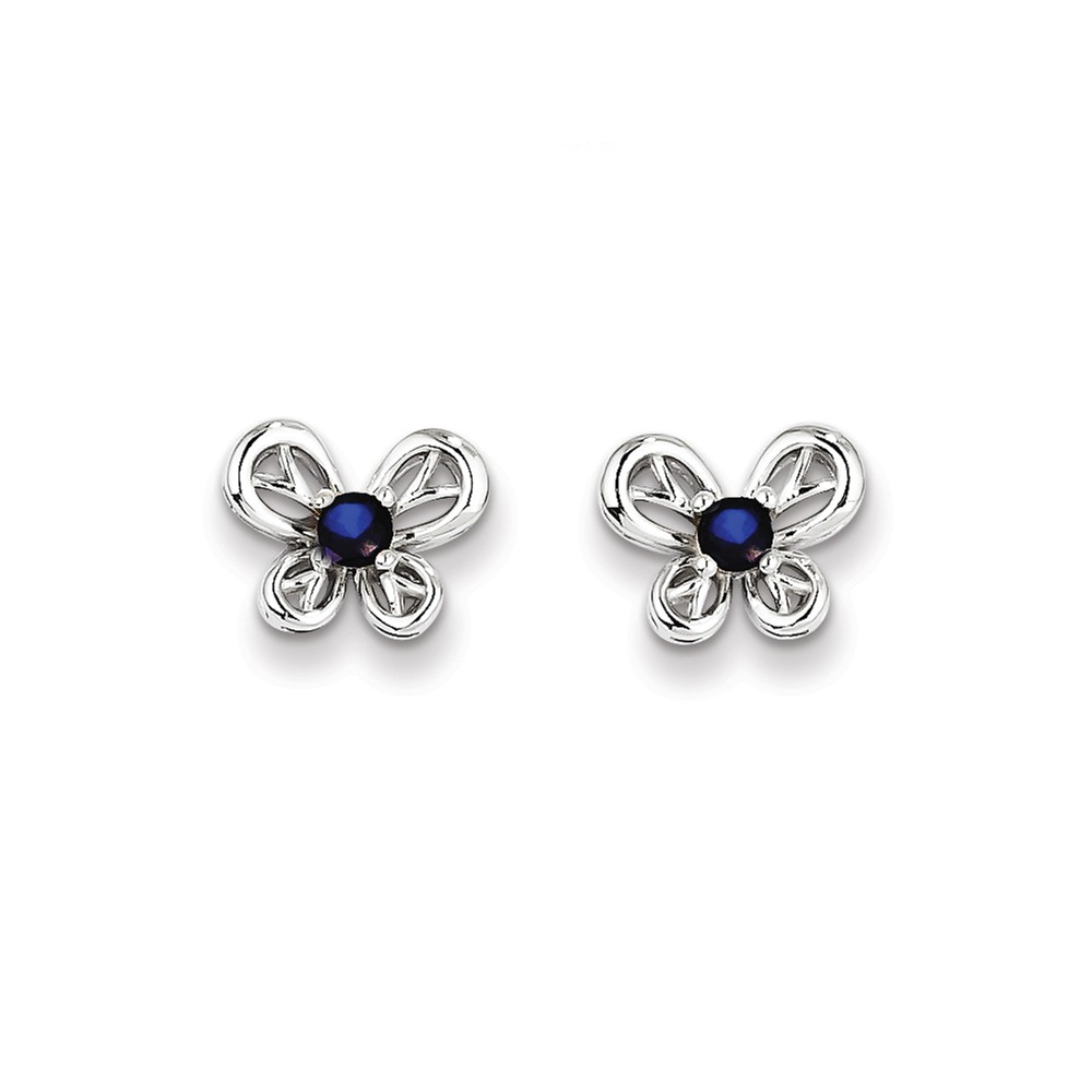 Sterling Silver Created Sapphire Earrings. Gem Wt- 0.3ct (9MM Long x 10MM Wide)