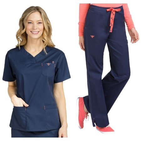 adf148ffd78 Med Couture - Med Couture Signature V-Neck 3 Pocket Top & Signature  Straight Leg Pant Scrub Set [XS - 3XL, FREE SHIPPING] - Walmart.com