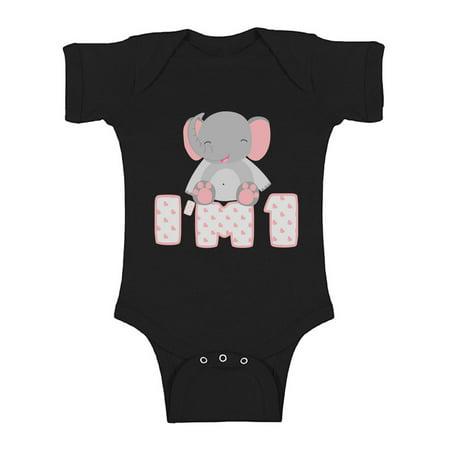 Awkward Styles Elephant Girls One Piece 1st B Day Baby Bodysuit Short Sleeve Elephant Gifts for 1 Year Old First Birthday Baby Bodysuit I am 1 Year Old My 1st Birthday Girl Bodysuit Birthday