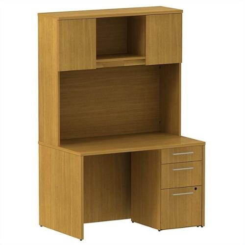 "Bush BBF 300 Series 48"" Shell Desk with Hutch in Modern Cherry"