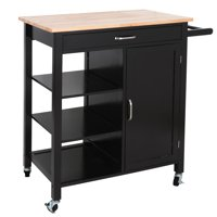 Zeny 4-Tier Utility Rolling Kitchen Storage Cart Kitchen Trolley Serving Cart w/Rubberwood Butcher Block Work Surface, Cabinet, Towel Bar, Drawer and Shelves