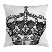 Queen Throw Pillow Cushion Cover, Antique Royal Crown Kingdom Emperor Ruler Czar Symbol Monarchy Authority Icon, Decorative Square Accent Pillow Case, 20 X 20 Inches, Black and White, by Ambesonne