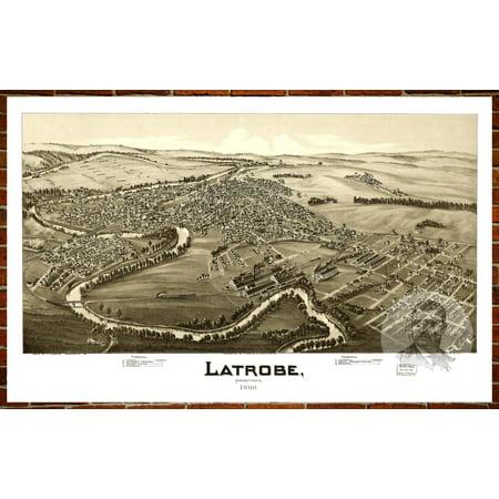 Ted's Vintage Art Map of Latrobe, PA 1900; Old Pennsylvania Decor 12