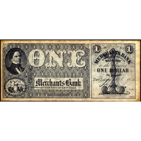 Union Banknote 1862 Nstate Of New York Banknote For One Dollar Issued By Merchants Bank 1862 President Zachary Taylor Is Pictured On The Left Rolled Canvas Art     18 X 24