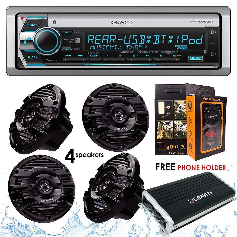 Free Magnet Phone Holder 4 Speakers 300W Kenwood KFC-1653MRB 6.5 2-Way Marine Speaker Boat-Yacht-ATV