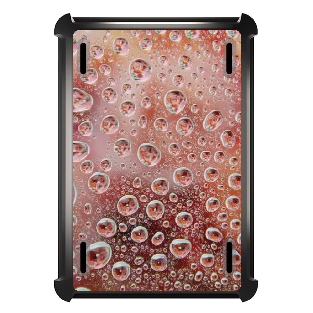 CUSTOM Black OtterBox Defender Series Case for Apple iPad Mini 1 / 2 / 3 - Red Water Droplets Glass