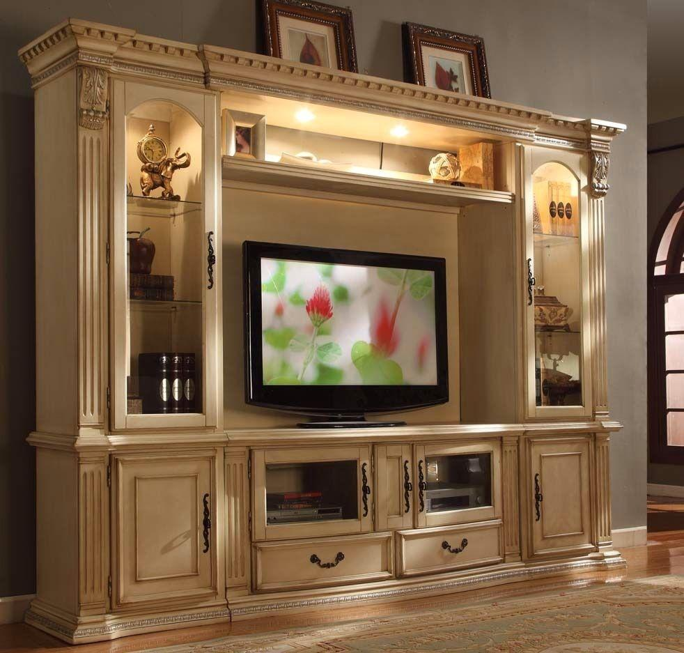 Superior McFerran E8200 Antique White Tv Entertainment Center Wall Unit Great Ideas