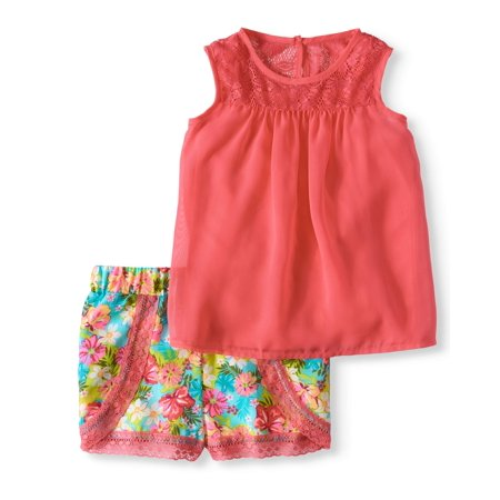 Toddler Girl Chiffon Tank Top & Printed Lace Trim Shorts, 2Pc Outfit Set - Ninja Girl Outfits