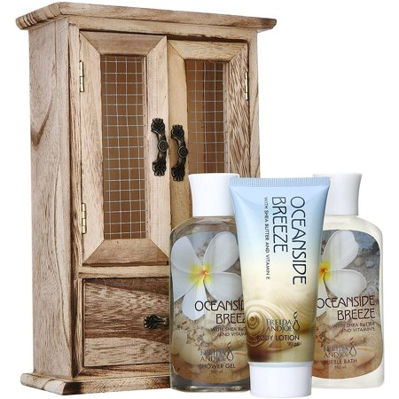 Oceanside Breeze Spa Bath Gift Set in Natural Wood Curio