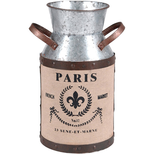 Wilco Medium Galvanized Metal Milk Can Decor, Grey, Brown and Creme