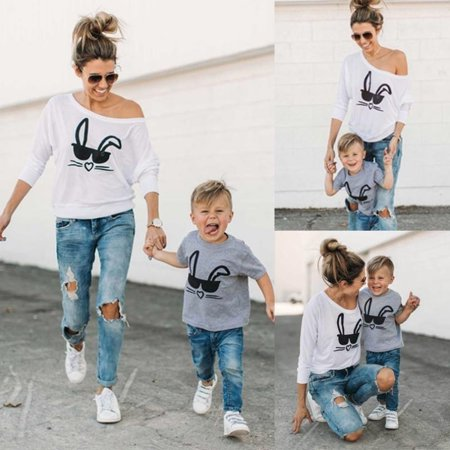 HOT Family Matching Outfits T-shirt MOTHER SON Women and Babys Rabbit Tee Tops - Rabbit Outfit