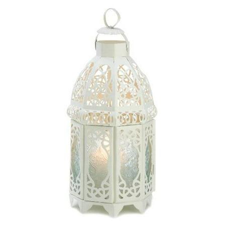 Zingz & Thingz 57070771 White Lattice Candle Lantern - Lattice Table Lantern