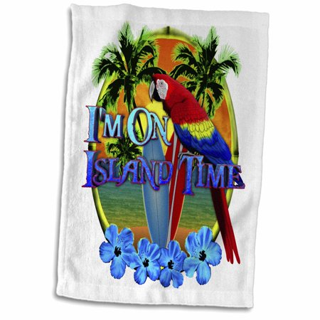 Parrot Tower (3dRose Beach sunset and parrot, all you need to enjoy Island Time. - Towel, 15 by 22-inch )