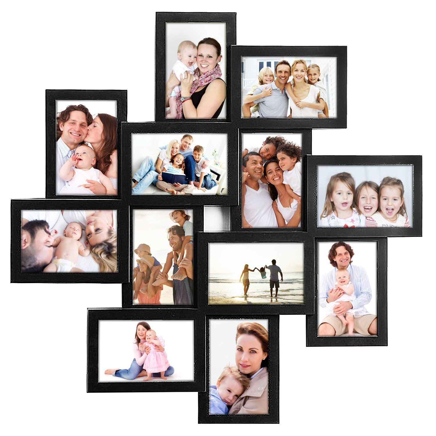 DL furniture - Photo Frame 24x24 Square Black PVC Picture Frame Selfie Gallery Collage Wall Hanging For 6x4 Photo - 12 Photo Sockets - Wall Mounting Design