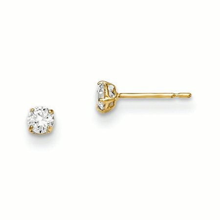 14k Solid Yellow Gold Madi K 3mm Round Cubic Zirconia Basket Set Stud