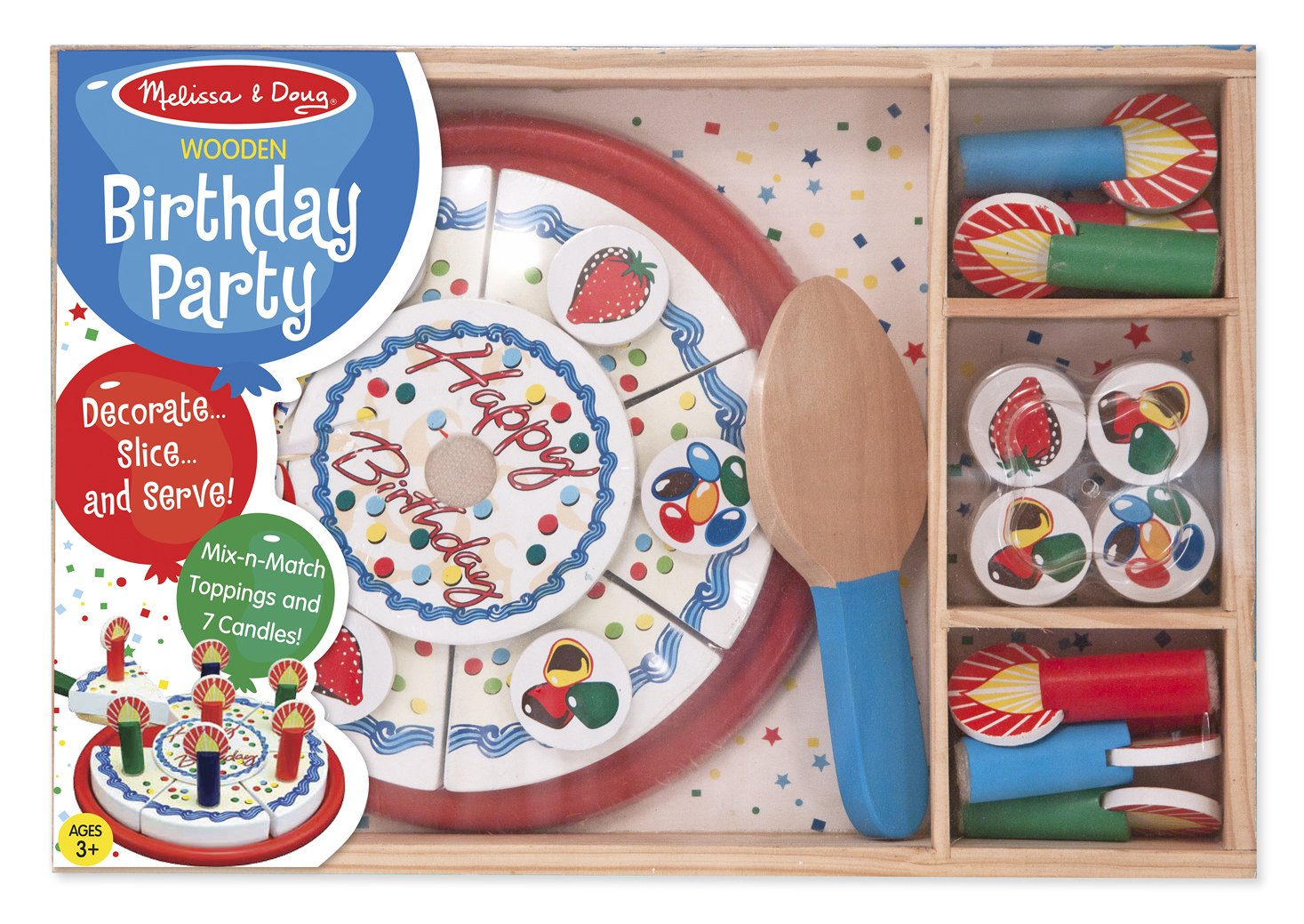 Melissa Doug Birthday Party Cake Wooden Play Food With Mix N