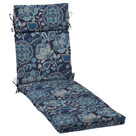 Better Homes & Gardens Jacobean Blue Floral 72x 21 in. Outdoor Chaise Lounge Cushion with EnviroGuard