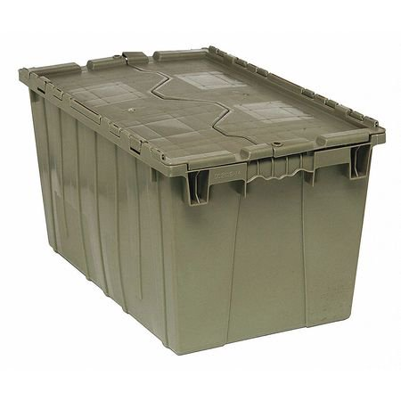 QUANTUM STORAGE SYSTEMS Attached Lid Container,2.20 cu ft,Gray
