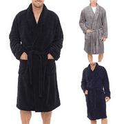 Fashion Men Winter Warm Lengthened Plush Shawl Bathrobe Home Sleepwear Robe Coat