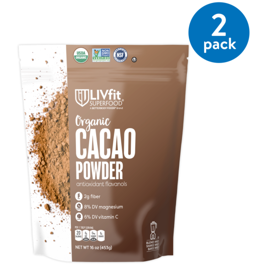 (2 Pack) Betterbody Foods LivFit Superfood Organic Cacao Powder, 1.0 Lb