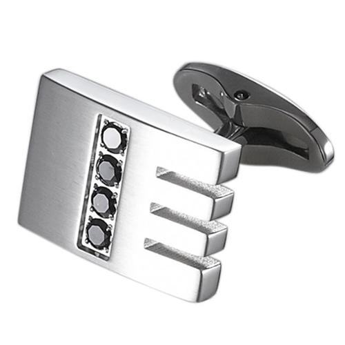Caseti Mens Thatcher Stainless Steel and Black Crystal Cuff Links Regular Silver