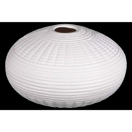Patterned Ceramic Vase In Round Shape, White - image 1 of 1