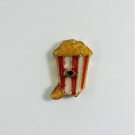 1 PC - Movie Popcorn Enamel Silver Charm for Floating Locket F0055](Floating Charms For Lockets)