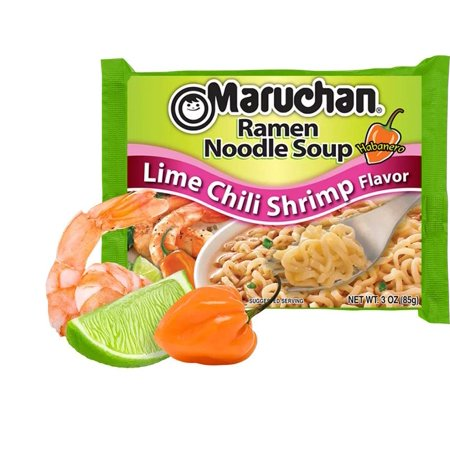 (24 Packs) Maruchan Lime Chili Shrimp Instant Ramen, 3 oz