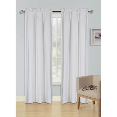 PERSIAN COLLECTION MATTE (NOT SHINY) 2 PANELS WHITE SOLID BLACKOUT THERMAL ROD POCKET FOAM LINED WINDOW CURTAIN DRAPE R64 63 LENGTH