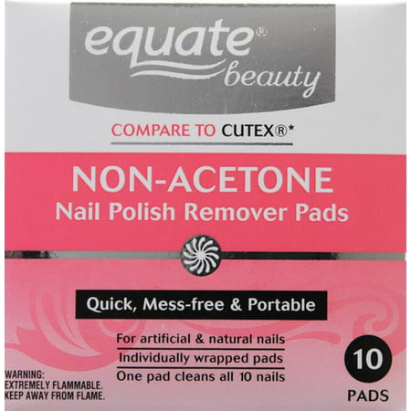 Equate Beauty Non-Acetone Nail Polish Remover Pads, 10 Ct