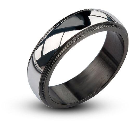 Steel Art Men's Stainless Steel Black IP Plain Polished Ring