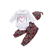 Xingqing Newborn Baby Girl Boy Valentine's Day Long Sleeve Jumpsuit Pants Hat Clothes Sets 0-24 Months