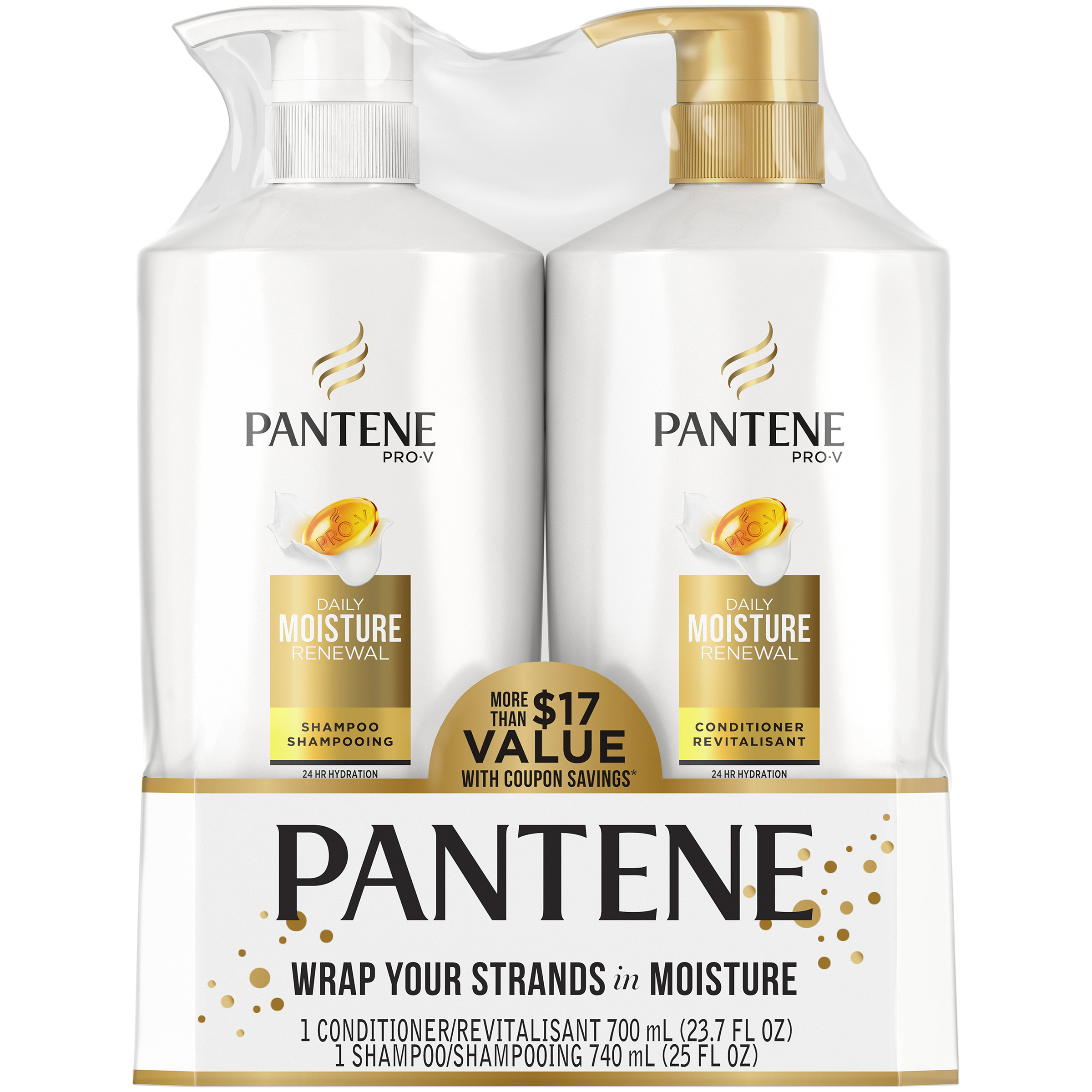 Pantene Pro-V Daily Moisture Renewal Shampoo and Conditioner Dual Pack, 48.7 fl oz