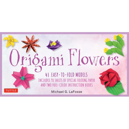 Origami Flowers Kit : 41 Easy-to-fold Models - Includes 98 Sheets of Special Folding Paper (Kit with Two instruction Books of 41 Projects) Great for Kids and - Kids And Adults