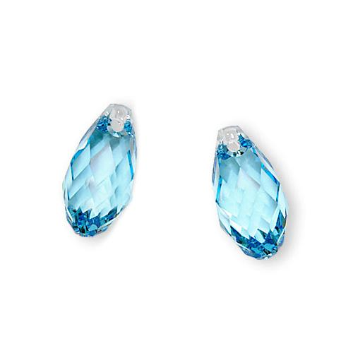 Swarovski Crystal, #6010 Briolette Pendants 13x6.5mm 2 Pieces, Aquamarine