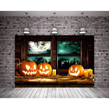 HelloDecor Polyster 7X5ft Vintage Halloween Background Pumpkin Light Pattern Wood Floor Photo Booth Backdrop Wood Window for Photography](Photo Halloween Vintage)