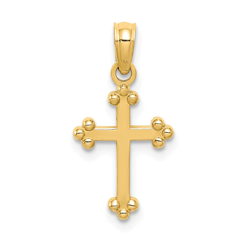 14K Yellow Gold Budded Cross Charm (20mm x 11mm)