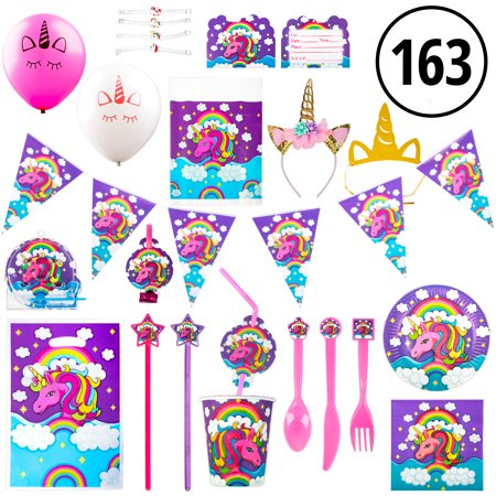 Pony Decorations Birthday Party (Unicorn Party Supplies and Unicorn Party Favors - 163pk Decorations, Headbands, Tableware and Birthday Party)
