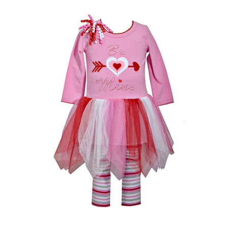 Baby Valentines Day Outfit Girls Pink Be Mine Tutu Dress And Striped Leggings Set 0-3 months ()