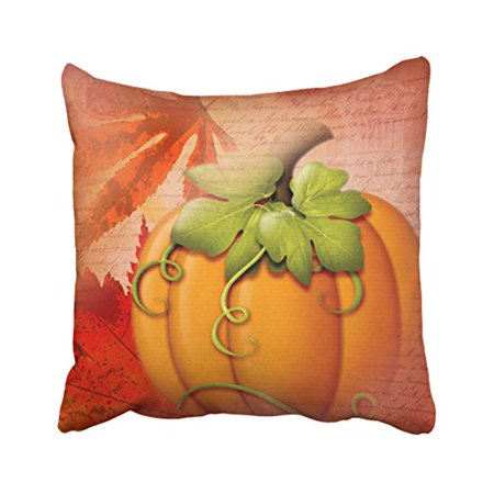 RYLABLUE Decorative Pillowcases Vintage Typography Autumn Leaves And Pumpkin Throw Pillow Covers Cases Cushion Cover Case Sofa 18x18 Inches Two Side - image 1 de 1