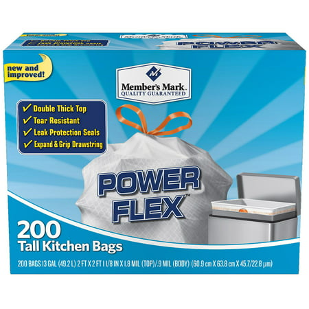 Members Mark Power Flex Tall Kitchen Simple Fit Drawstring Bags  13 Gal   200 Ct