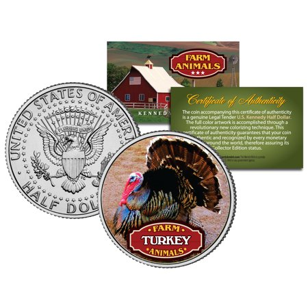 - TURKEY * Collectible Farm Animals * JFK Kennedy Half Dollar US Colorized Coin
