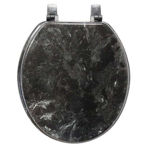 Marble Black Round Toilet Seat