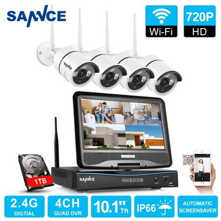 SANNCE 4CH 720P WIFI CCTV System HDMI NVR With 10.1'' LCD Screen 4PCS 1.0 MP IR Outdoor P2P Wireless IP Camera Security System Surveillance Kit With 1TB Hard Drive Disk