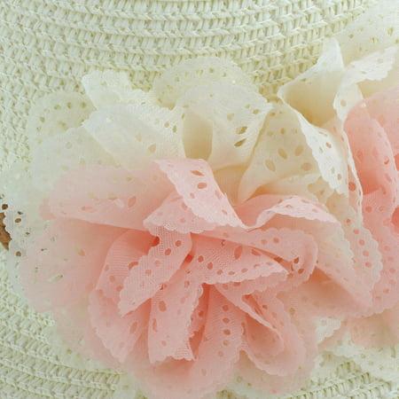608937d7 Lady Travel Straw Braided Flowers Decor Summer Beach Sun Bucket Hat Sunhat  White - image 1 ...