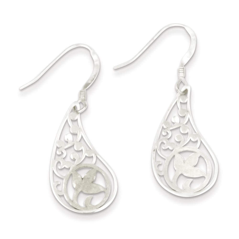 Sterling Silver Polished & Textured Flower Dangle Earrings (0.9IN x 0.5IN )