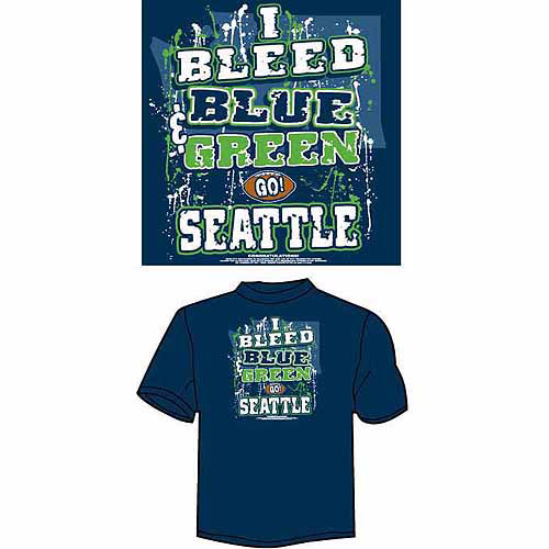 "Seattle Football ""I Bleed Blue and Green, Go Seattle"" T-Shirt, Blue"