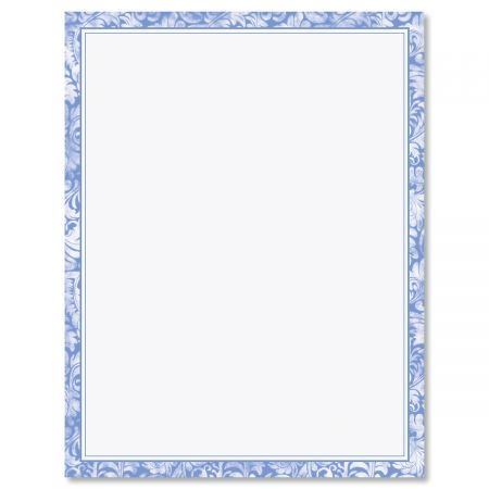 Blue Alluring Border Easter Letter Papers - Set of 25 spring stationery papers are 8 1/2